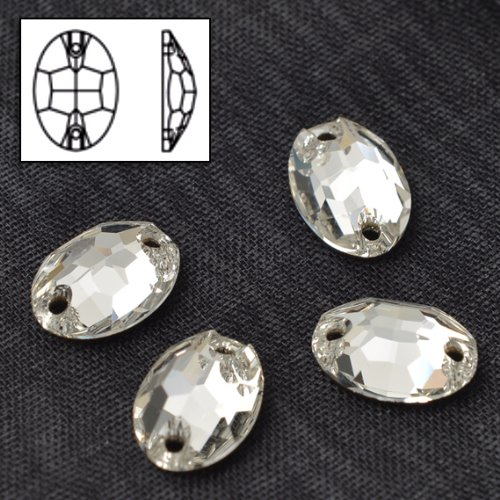 SWAROVSKI 3210 Sew On FlatBack OVAL Crystal 10X7mm by 6pcs by Swarovski