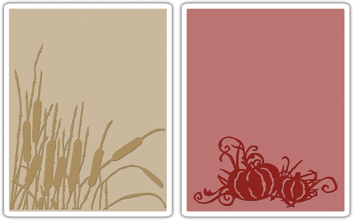 Sizzix Texture Fades Embossing Folders 2PK - Cattails & Pumpkin Patch Set by Tim Holtz