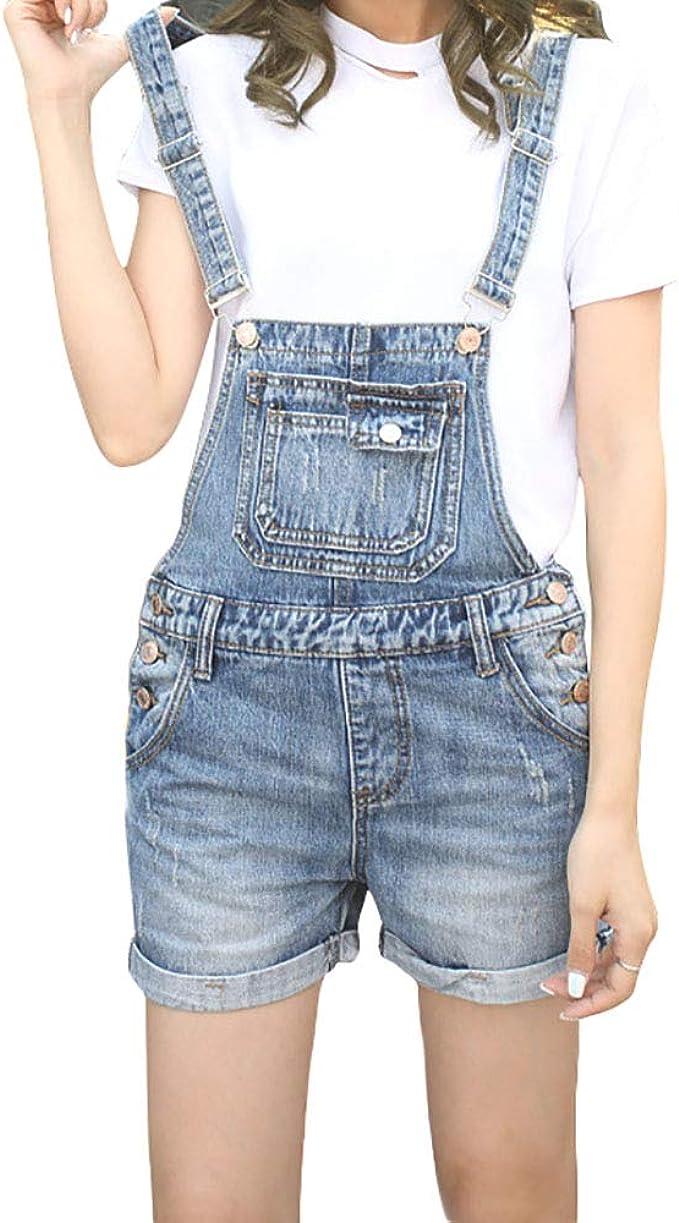 VONDA Donna Casuale Salopette Pantaloncini con Tasche Moda Tutine da Donna