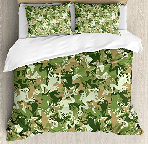 Ambesonne Animal Decor Duvet Cover Set, Skull Camouflage Military Design with Various Frog Pattern Different Tones ArtPrint, 3 Piece Bedding Set with Pillow Shams, Queen/Full, Sage Pine (Camouflage Pillow Sham)