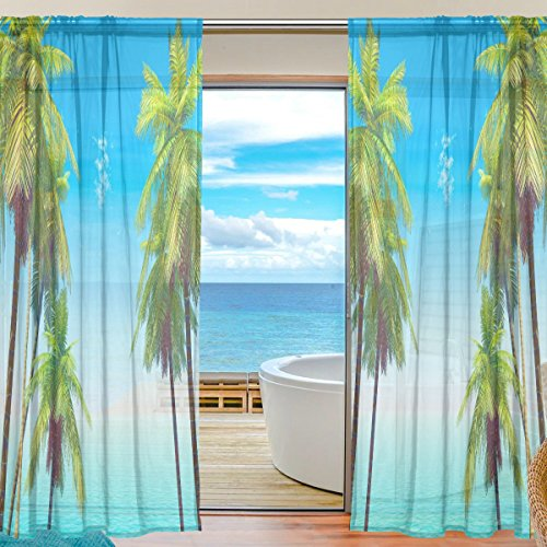 Floral Palmtrees Semi Sheer Curtains Window Voile Drapes Panels Treatment-55x78in for Living Room Bedroom Kids Room, 2 Pieces