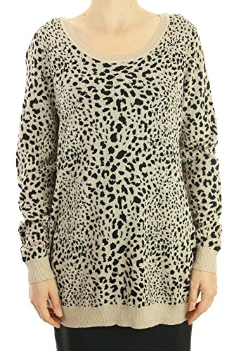 INC Womens Plus Animal Print Shimmer Pullover Sweater Black 1X