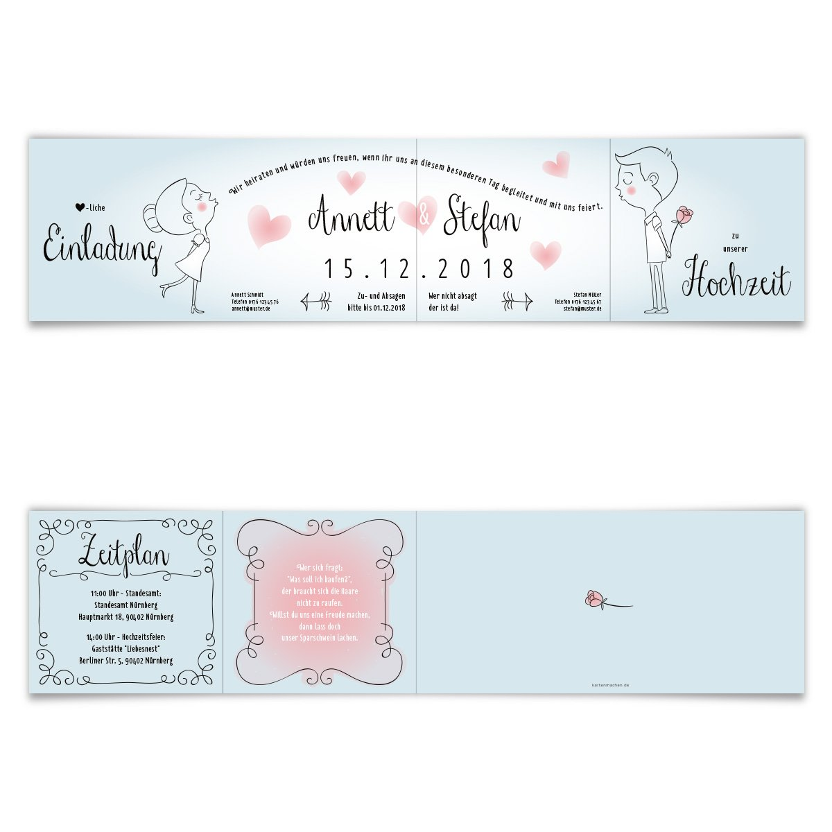 10 X Hochzeit Einladungskarten Hochzeitseinladungen Hochzeitskarten