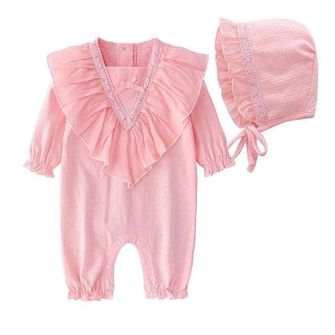 FCQNY Conjunto Pijamas con Volantes en Forma Mono para bebé recién ...