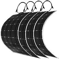 DOKIO 100 Vatios 4 Piezas 12V / 24v Cargador Solar Flexible de Panel Solar Monocristalino de 12V / 24v con MC4 Para RV, Barco, Cabina, Tenda de Campa?a, Autom¨®vil, Remolque, Bater¨ªa de 12 V o Cualquier Otra Superficie Irregular