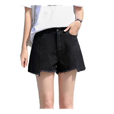 Abetteric Women's Hot Pants High Waist Relaxed-Fit Vogue Student Plus Size Shorts Jeans Black M