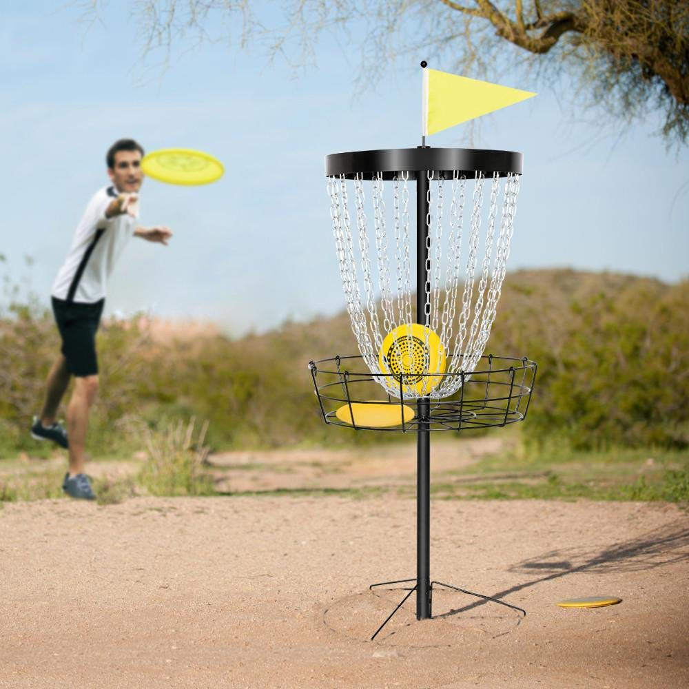 Yaheetech Disc Golf Basket Target, 24-Chain Portable Metal Golf Goals Baskets W/Carrying Bag Practice Set by Yaheetech