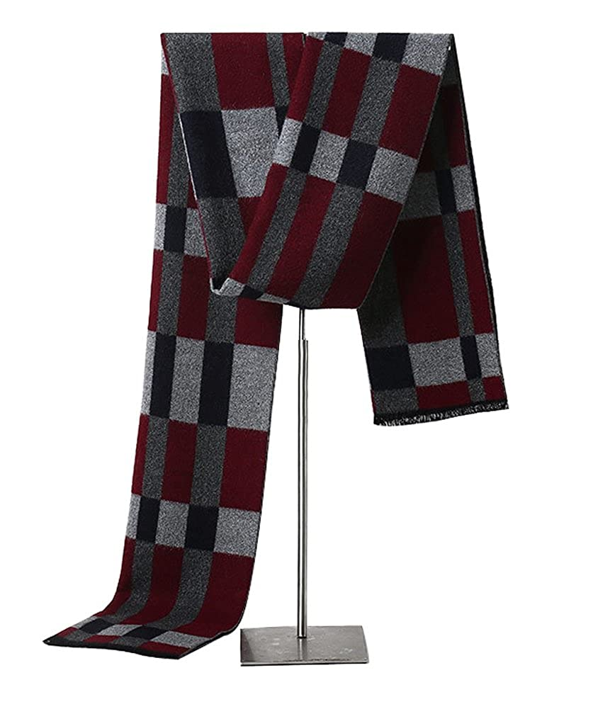 MuNiSa Men's Winter Scarf Plaid Stripes Long Cashmere Scarves with Tassel