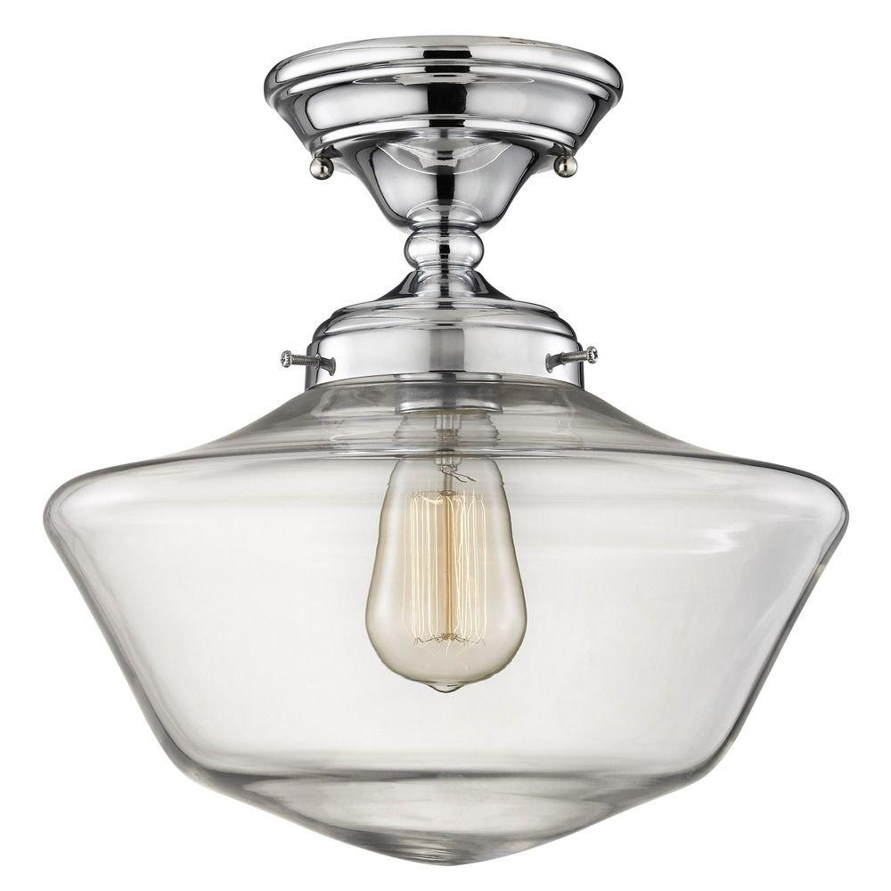 12-Inch Clear Glass Schoolhouse Semi-Flush Ceiling Light in Chrome Finish
