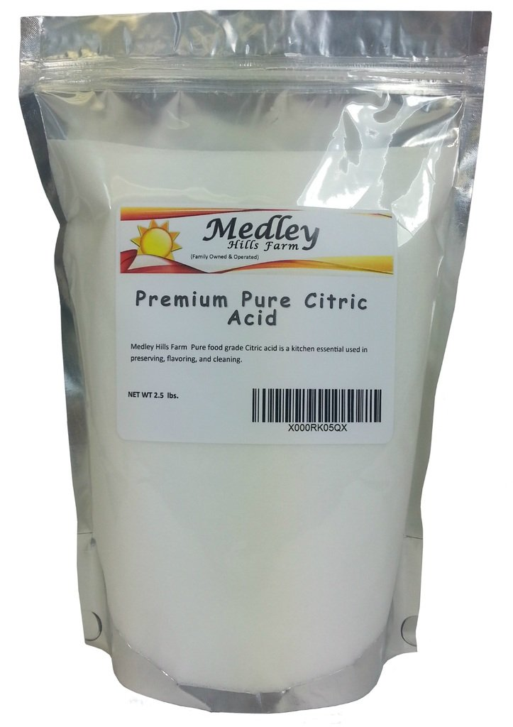 Citric Acid - 2.5 Lbs. - 100% Pure Food Grade NON-GMO (2.5 Pound) Medley Hills Farm