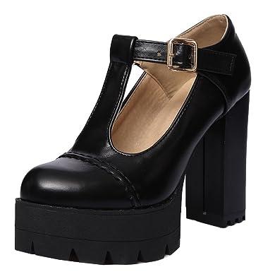 YE Damen T Strap Pumps Geschlossene High Heels Plateau mit Blockabsatz und Riemchen  Moderne Schuhe