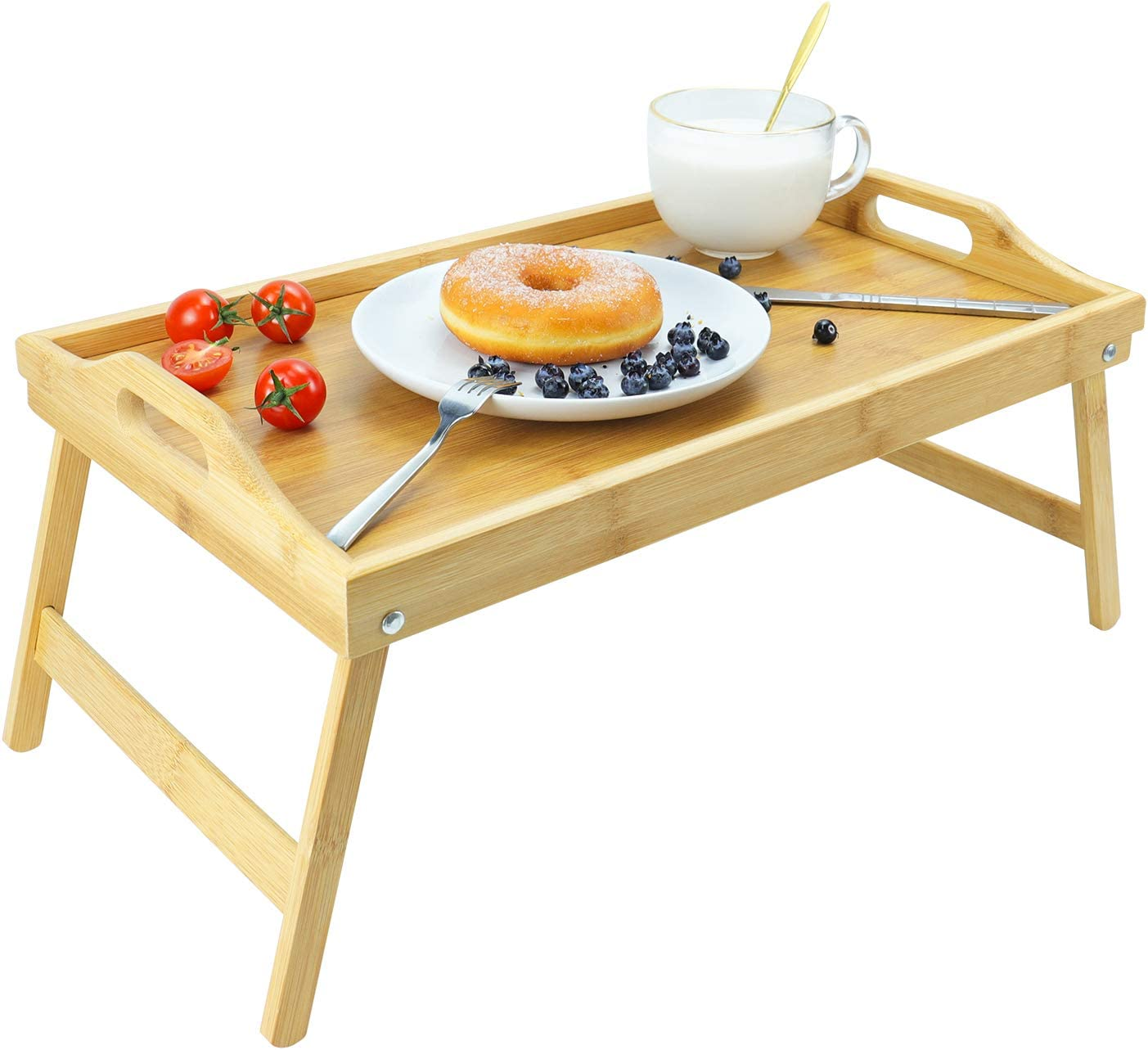 augtarlion Bamboo Breakfast Trays, Bed Tray with Folding Legs Foldable Breakfast Trays Table with Carring Handles Portable Laptop Desk Snack Tray Serving Tray for Reading, Eating, Working (16.5 Inch)