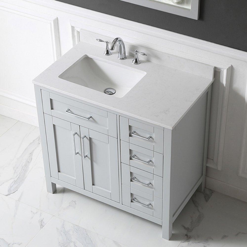 Ove Decors Tahoe 36G Marble Top Single Bathroom Sink Vanity, 36-Inch ...