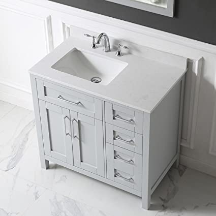 Ove Decors Tahoe 36G Marble Top Single Bathroom Sink Vanity, 36 Inch By 21