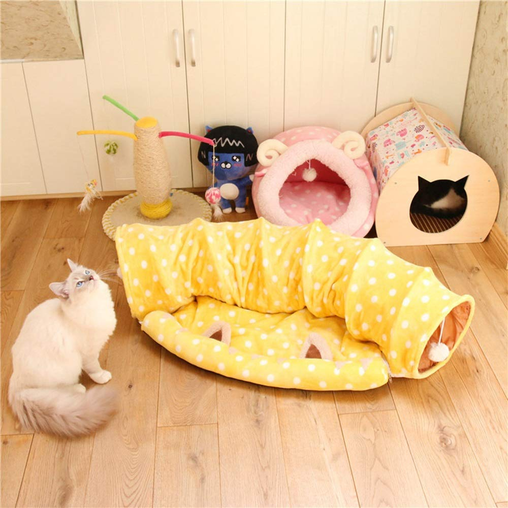 Yellow1 H Yellow1 H Cvthfyky Foldable Cat Tunnel Channel Rolling Cat Litter Plushs Toy Suitable For Cats And Dogs (color   Yellow1, Size   H)
