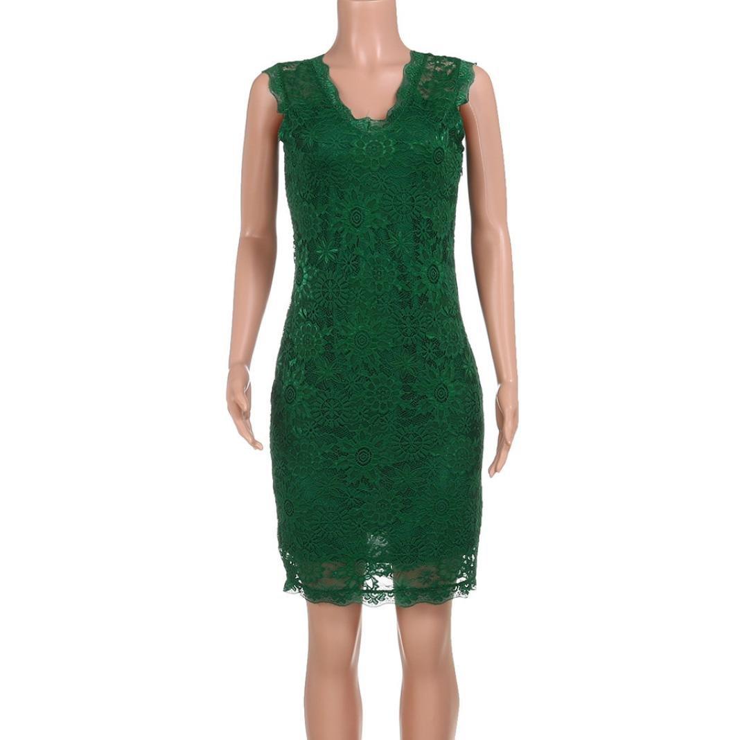 Hunputa Womens Elegant Work Office Wear Dresses Casual Sleeveless Lace Dress Party Mid Dress