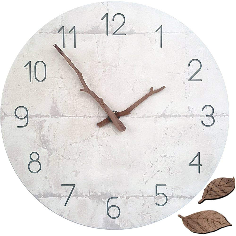 Natural Wall Clock Silent & Non-Ticking Quartz Movement 11-inch Round Wooden Clock (Concrete)