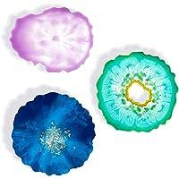 3 قطع الراتنج الصب العفن مرآة تأثير إيبوكسي العفن الحرفية سيليكون العفن كوستر
