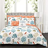 Lush Decor 7 Piece Coastal Reef Feather 7 Quilt Set, Full/Queen, Blue and Coral