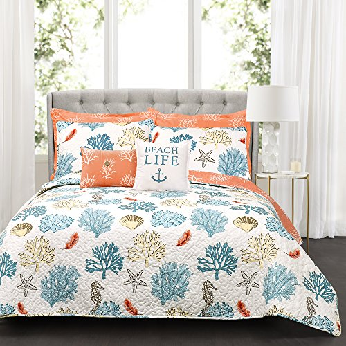 Lush Decor Coastal Reef Quilt-Reversible 7 Piece Bedding Set with Feather Seashell Design-Full Queen-Blue and Coral (Bedding Queen Sets Tropical)
