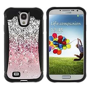 Paccase / Suave TPU GEL Caso Carcasa de Protección Funda para - Glitter Bling Silver Pink Light - Samsung Galaxy S4 I9500