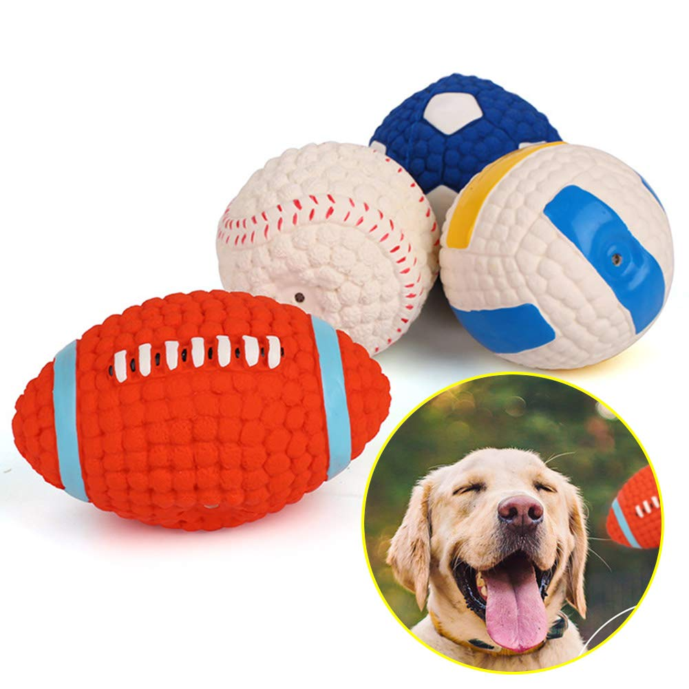 Combination Pet Dog Chewing Latex Toy Ball, Tooth Cleaning Non Toxic Bite Wear Resistant Elastic Rubber Training Game Interactive Outdoor Sports (Soccer Tennis Volleyball Football Combination),Combination