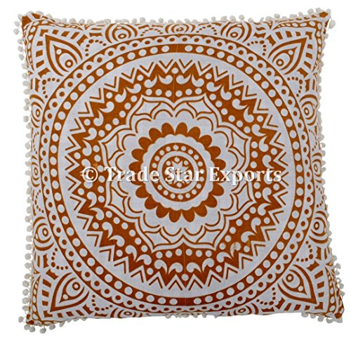 26 X 26 Mandala Euro Sham, Floral Cushion Cases, Indian Ethnic Pillow Cover, Hippie Cushion Cover with Pom Pom Lace, Golden Ombre Pillows, Bohemian Throw Pillow Cases (Pattern 6)