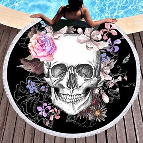 Hot Koongso Skull Round Beach Towel Blanket Skeleton Flower Roundie Beach Blanket Line Art Roundie Beach Blanket 59 inch