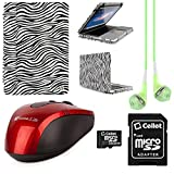 Faux Leather Book Style Folio Protective Cover for Apple Macbook Pro 13.3-inch Laptops + Green VanGoddy Headphones + Red USB Wireless Mouse + 16GB Memory Card (Zebra)