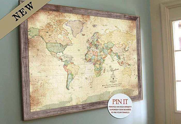 PERSONALIZED Vintage Inspired Map Gift For Grandparents Push Pin Mom