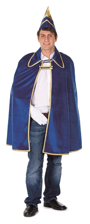 L3300131 blau mit Goldborte Herren Dreigestirn Kostüm Prinzenumhang Cape mit Mütze Kappe