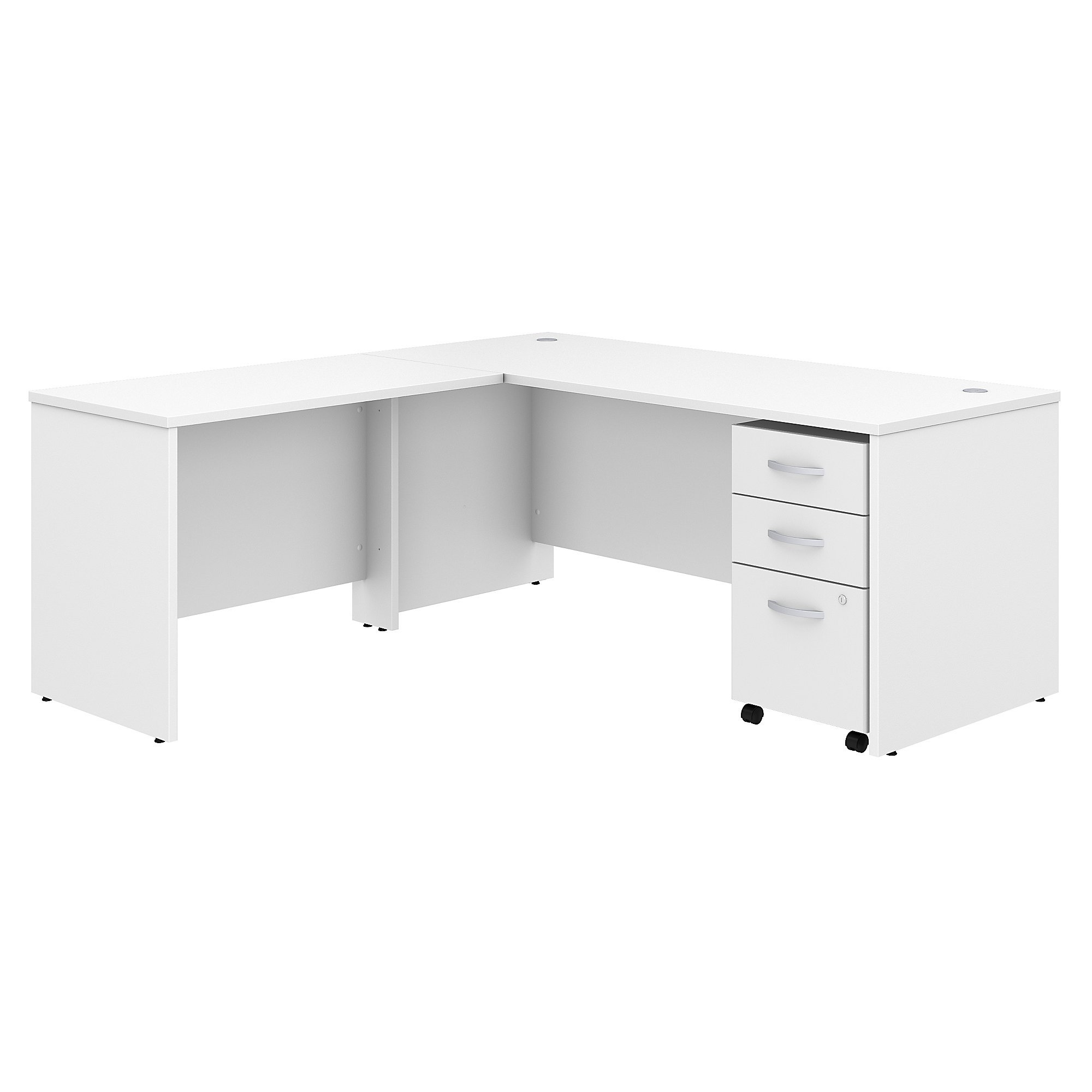 Studio C 72W x 30D L Shaped Desk with Mobile File Cabinet and 42W Return in White