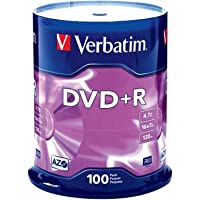 Verbatim DVD+R 4.7GB 16x AZO Recordable Media Disc - 100 Disc Spindle - 95098