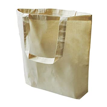 Amazon.com: 12 Pack Eco Friendly Natural Cotton Canvas Tote Bag 15 ...