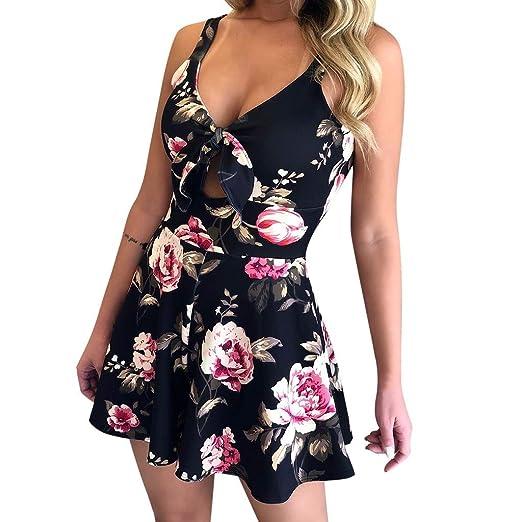 b6d073f796b LEERYAAY JumpsuitSWomen Summer Floral Print Sleeveless V Neck Bow Sexy Vintage  Jumpsuit Playsuit Black