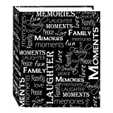 TSVP 3-Ring Photo Album Magnetic Self-Stick 100 Pages (50 Sheets), Black & White Words Design