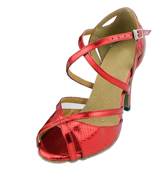 Minitoo Peep QJ6028 donna Peep Minitoo toe tacco Med PU salsa Tango Latin ankle-wrap da ballo sandali Red 507ee2