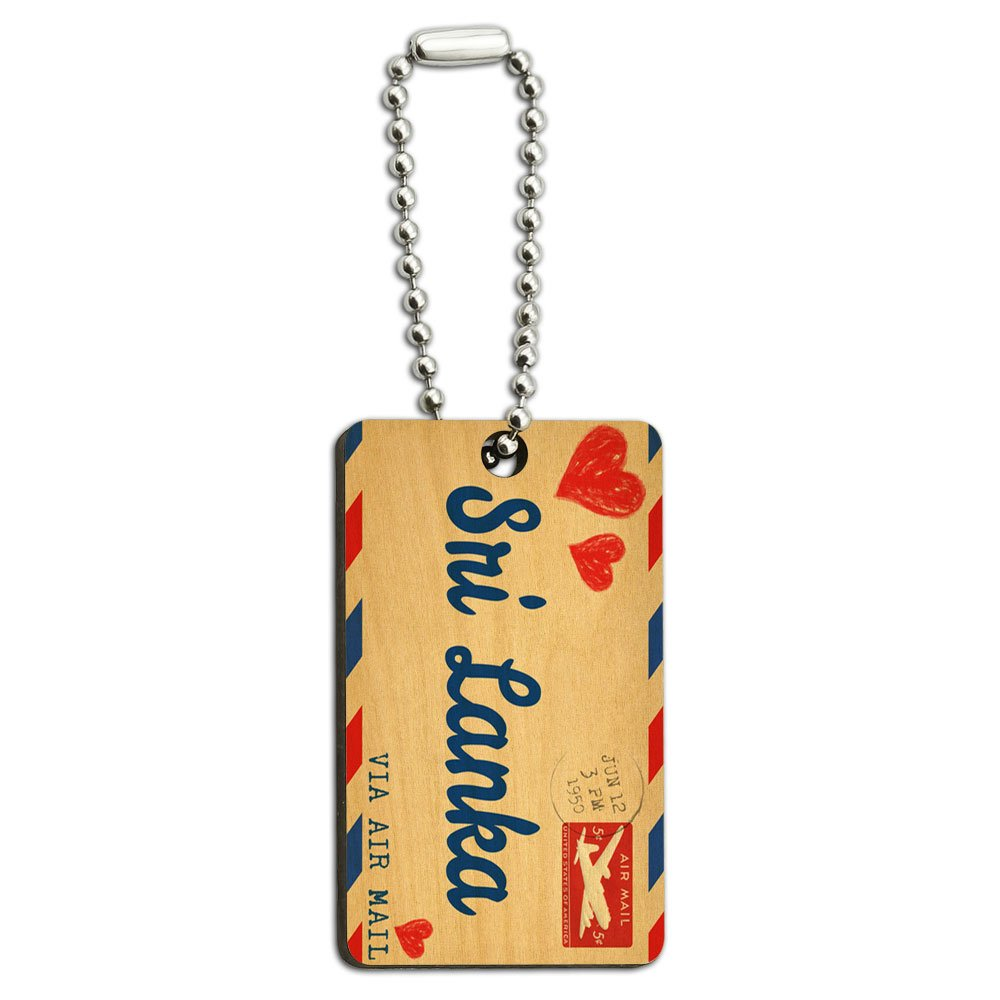 Graphics and More Air Mail Postcard Love for Sri Lanka Wood Wooden Rectangle Key Chain