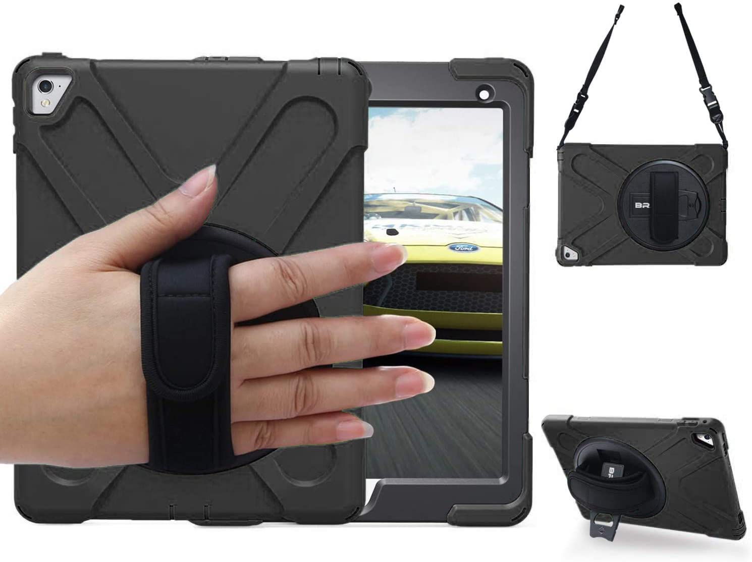 BRAECN iPad Pro 9.7 Case,iPad 9.7 Case 2016 [Shockproof] Full-Body Heavy Duty Protective Case with 360 Swivel Kickstand/Hand Strap/Shoulder Strap for iPad 9.7 Pro case a1673 a1674 a1675-Black