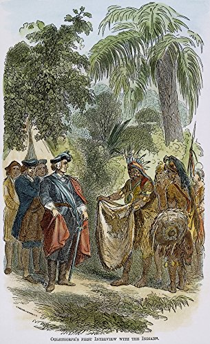- Oglethorpe With Native Americans Njames OglethorpeS First Meeting With The Yamacraw Native Americans In 1733 At Present-Day Savannah Georgia Wood Engraving American 19Th Century Poster Print by (18 x