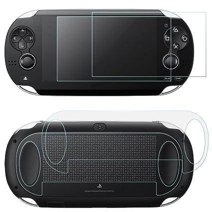 AFUNTA 2 Pack (4 piezas) de Vidrio Templado para Pantalla Frontal y HD Película de PET Transparente para la Parte Posterior, PS Vita PSV 1000 ...