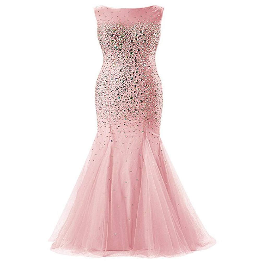 bluesh DRLYQYJF Evening Dresses Long Scoop Beaded Crystal Tulle Backless Formal Party Gown Prom Dresses Robe