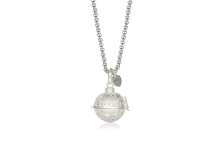 MAMIJUX Llamador de ángeles perforado con corazones con cadena de acero 110cm