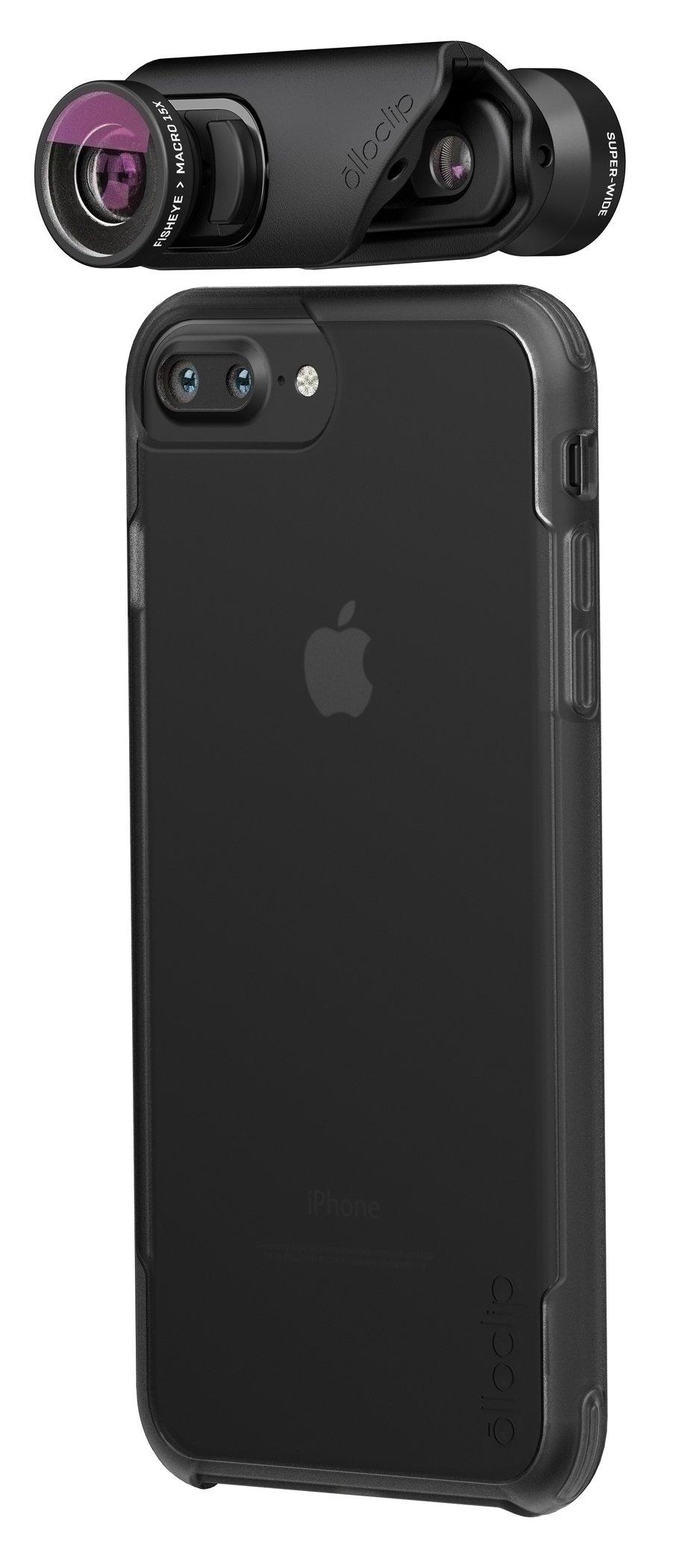 olloclip — CORE LENS SET + OLLO CASE Combo for iPhone 8/8 Plus and iPhone 7/7 Plus — Includes 1 iPhone case for iPhone 7 Plus & 8 Plus + TELEPHOTO Premium Glass Lens — Lens: Black/Black, Case: Clear