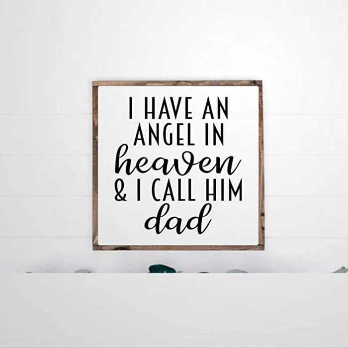 DONL9BAUER Framed Wooden Sign I Have an Angel in Heaven and I Call Him Dad Wall Hanging Funny Farmhouse Home Decor Wall Art for Living Room