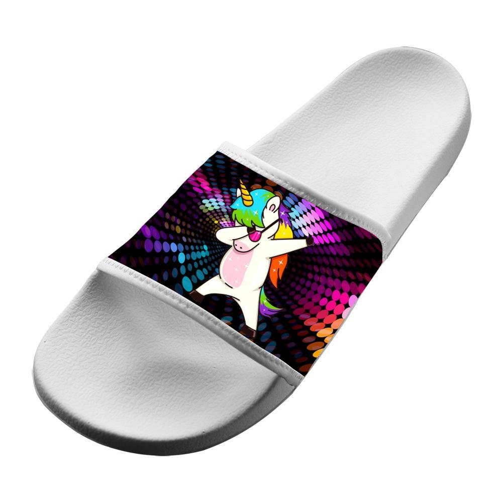 Dab Unicorn Dance Unisex Adults House Sandal Slippers Bathroom Flats Flip Flops Open toed Slide Shoes