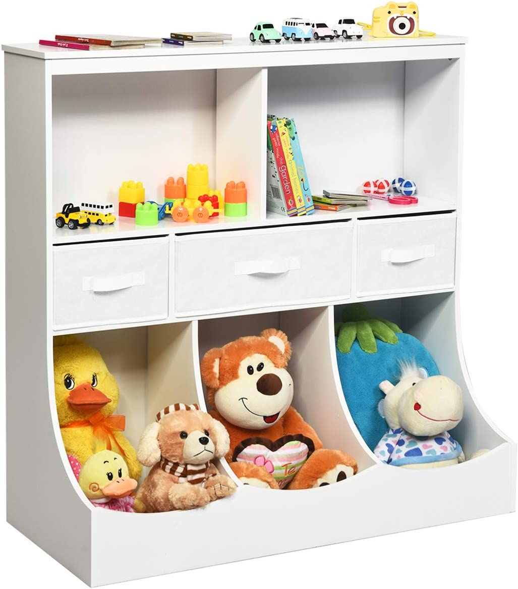Costzon 3-Tier Kids Bookcase Toddler Storage Organizer Cabinet Shelf w 8 Compartment Box and 3 Removable Drawer
