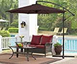 Ulax furniture 10 Ft Offset Cantilever Hanging Patio Umbrella, Tilt Crank Outdoor, PA Coated, Waterproof, 2018 Summer Version, Chocolate For Sale