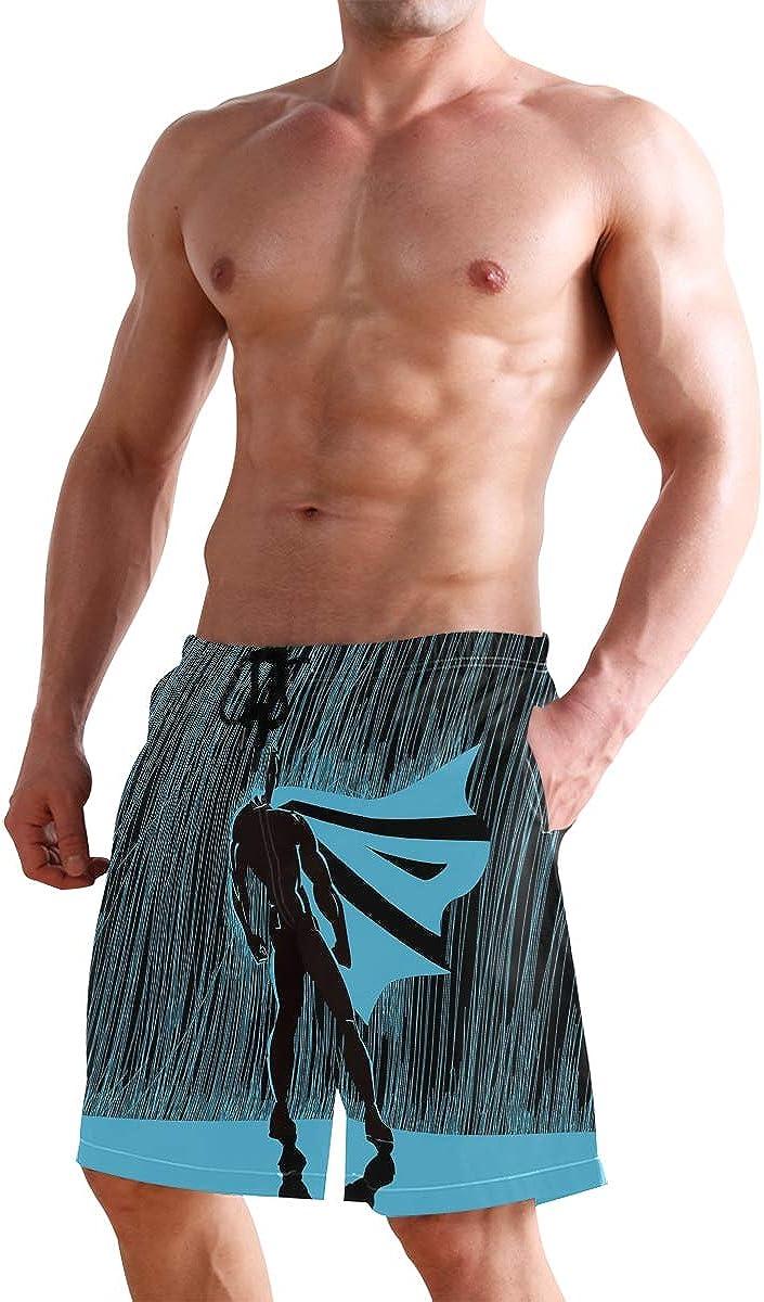 Hero in Rain at Night Dramatic Super Defender Macho Pride Neon Male Illustr Casual Swim Trunks All