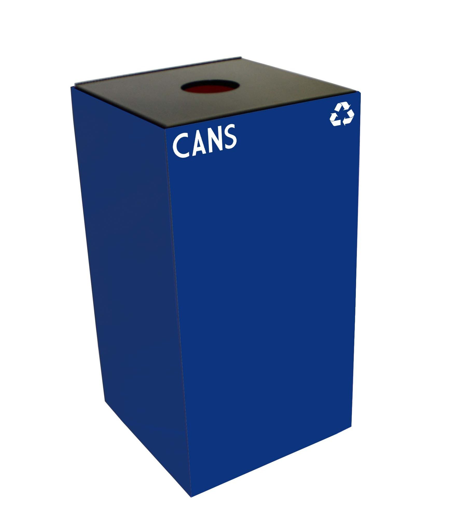 Witt Industries 28GC01-BL GeoCube Recycling Receptacle with Round Opening, Steel, 28 gal, Blue